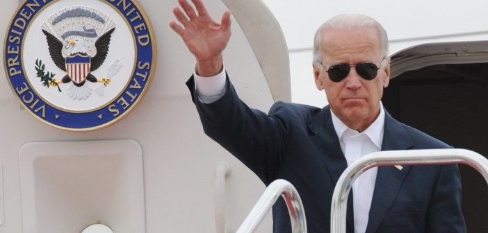US Vice President Joe Biden waves as he