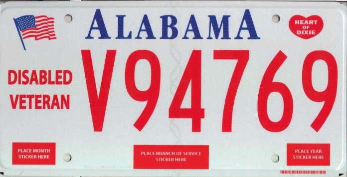 Alabama Disabled Veteran License Plate