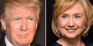 Donald Trump and Hillary Clinton split