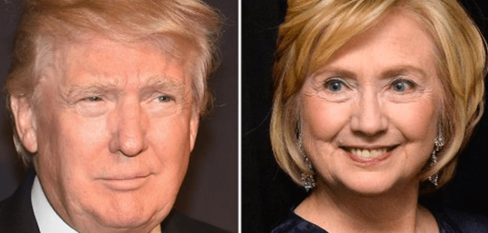 Donald Trump and Hillary Clinton split