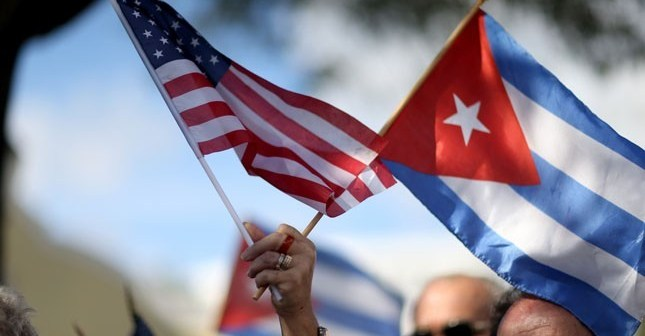 United States and Cuba flags