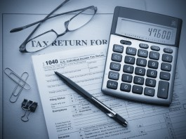 tax documents and calculator