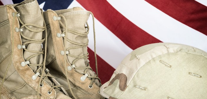 military boots American flag