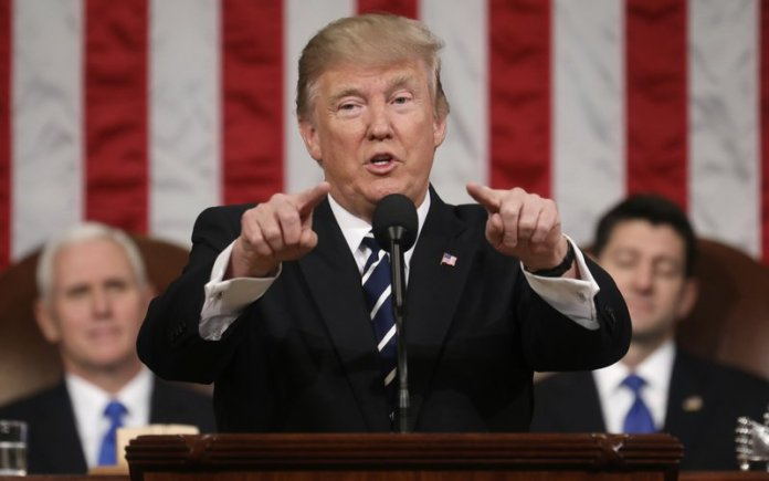 Donald Trump at joint session of Congress