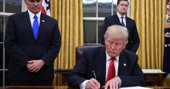 Donald Trump signs signing