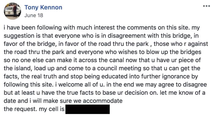 Tony Kennon FB post