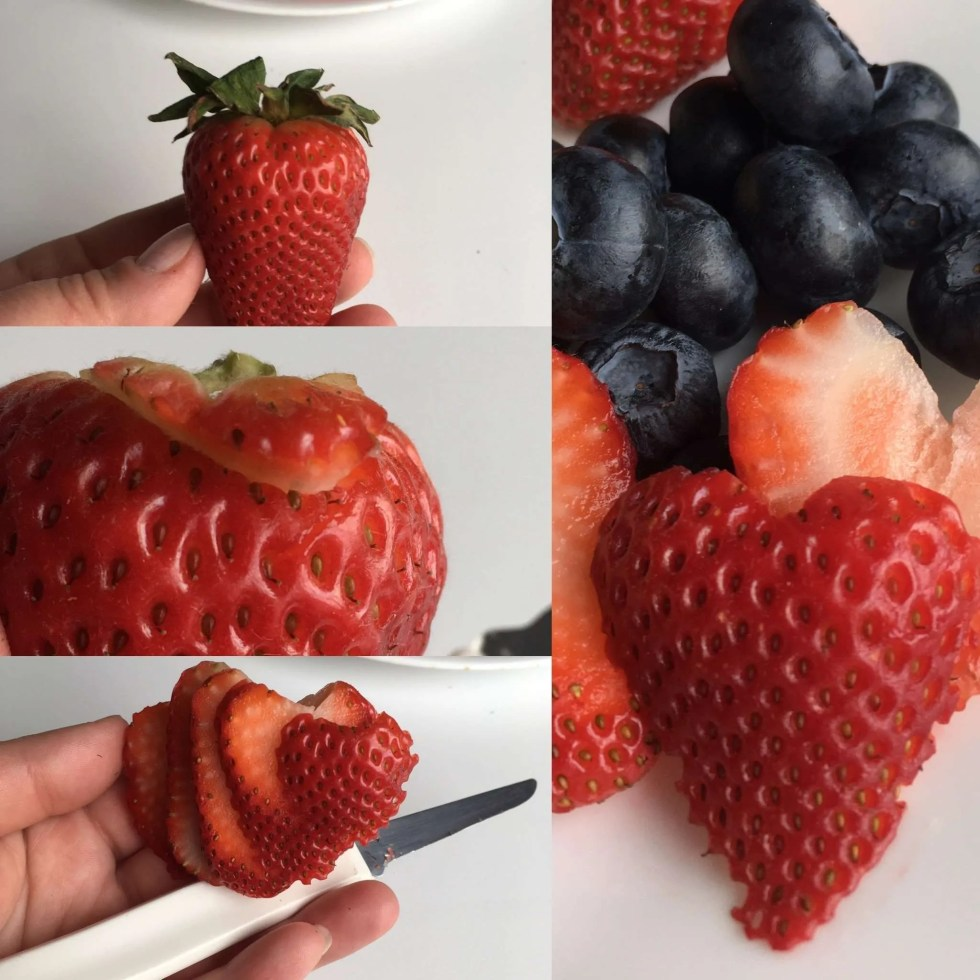 strawberry heart slices