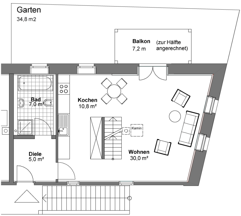 Grundriss Südhaus 1. OG
