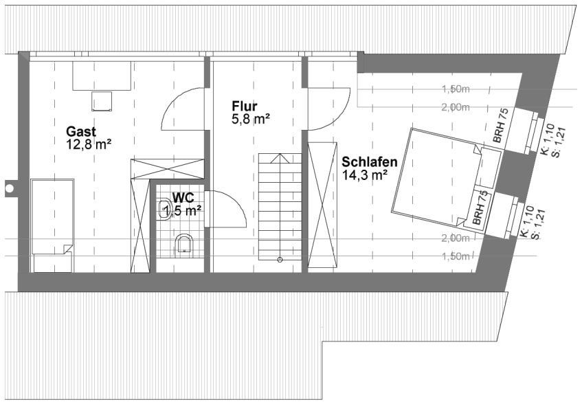 Grundriss Südhaus Dachgeschoss