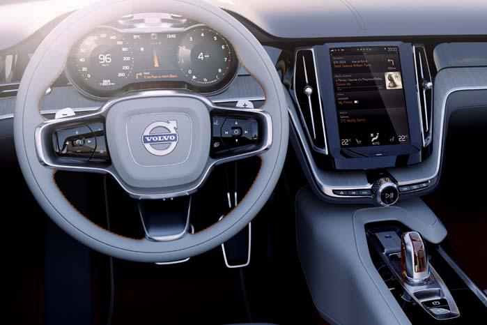 Alle funktioner, kontakter og informationer er koncentreret i rattet og en stor touch-screen i midten af instrumentbordet.