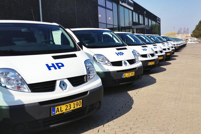 De 20 nye Renault Trafic og to Renault Master med lad var samlet for første og sidste gang, før skal returneres efter endt leasingperiode om tre år