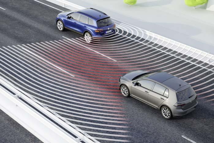 Et andet sikkerhedssystem i udstyrsprogrammet er overvågning og varsling om bagfra kommende trafik i de blinde vinkler.