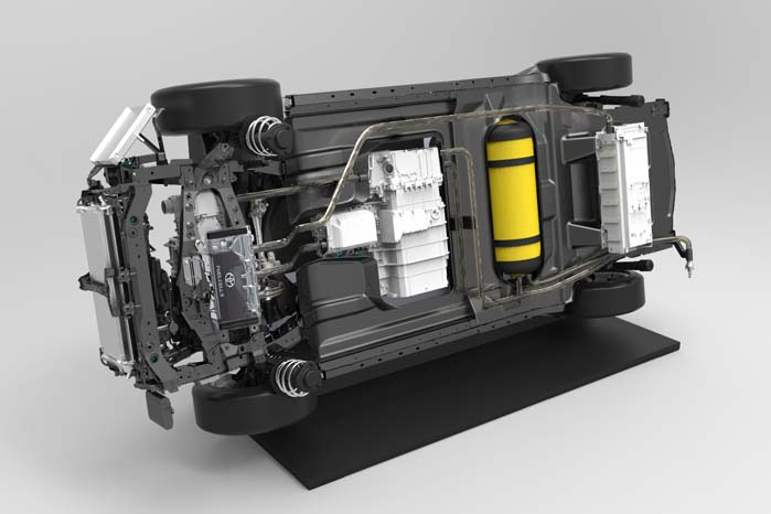Brændselscellerne og brinttankene er placeret i vognbunden, så der bliver optimale pladsforhold i kabinen.