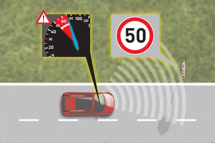 Intelligent fartbegrænser skruer selv ned for hastigheden, hvis skiltene viser lavere hastighed end din indstilling