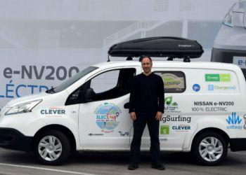 Lionel Suissa og hans team er klar til at krydse Europa i en 100 procent eldreven Nissan e-NV200