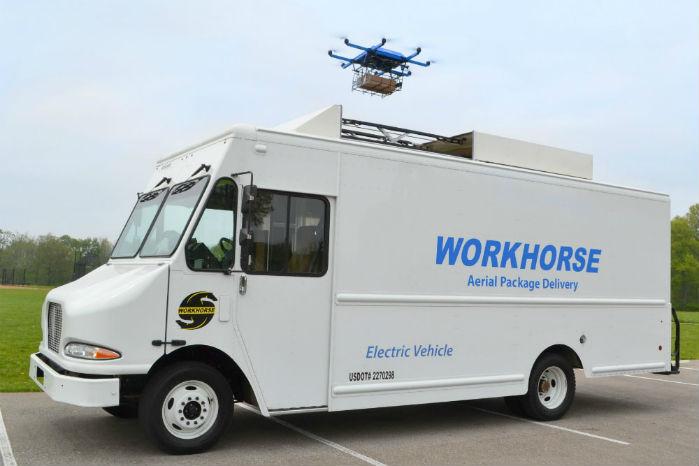 Horsefly lander på taget. Her på den større Workhorse E-GEN i 7,5-tons klassen