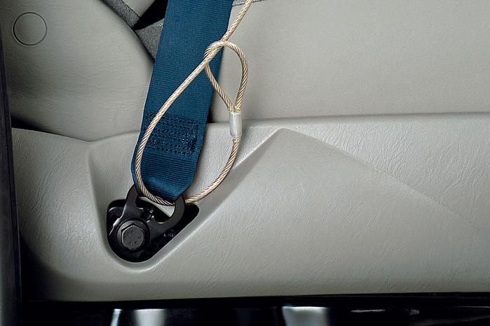 Sortimos Automanager sikres med en stålwire i sikkerhedsselens beslag