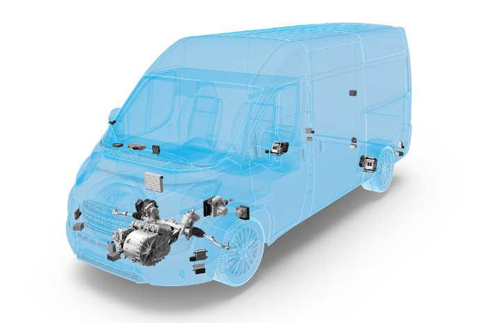 """""""ZF Innovation Van"""" er på autonomi-niveau 4 og er udstyret med kamera, radar og lidar. Foto: ZF"""