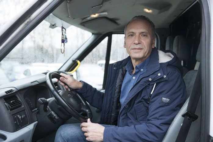 Græskfødte Eleftherios Tzaferis har tilbragt 16.700 timer bag rattet i sin Ford Transit fra 2010. Foto: Ford