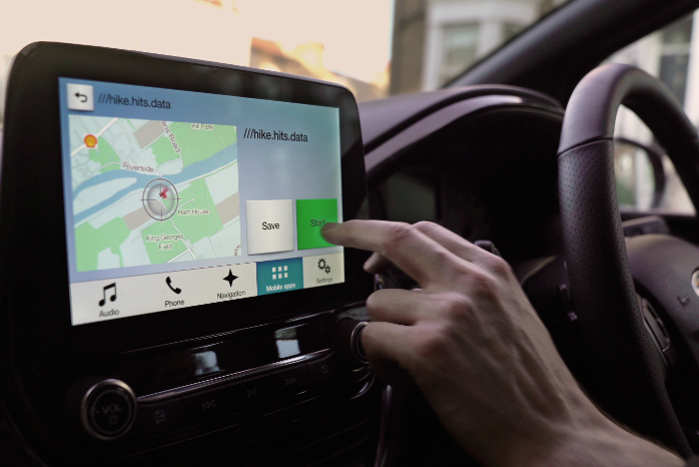 What3words integreres i Fords infotainment-system SYNC-3. Foto: Ford