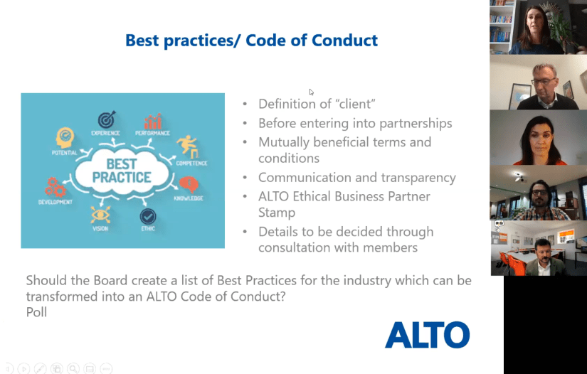 Best practices/ ALTO Code of Conduct