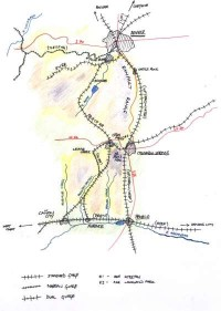 Map of Pine Bluffs and Ceda Falls, a large, color copy of which is displayed on the layout at exhibitions.