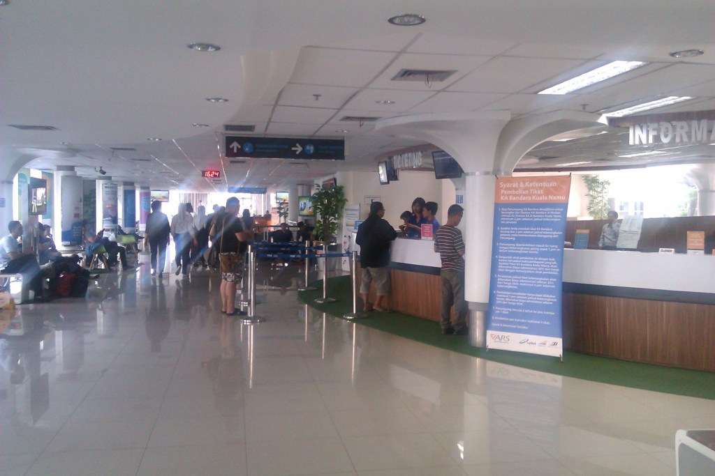 Ticketing area of Raillink like airport interior