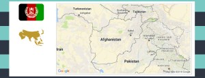 Map and flag of Afghanistan.