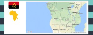 Map and flag of Angola