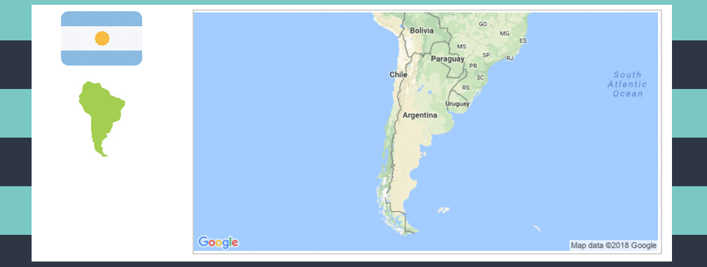 Map and flag of Argentina.