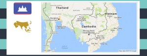 Map and flag of Cambodia.
