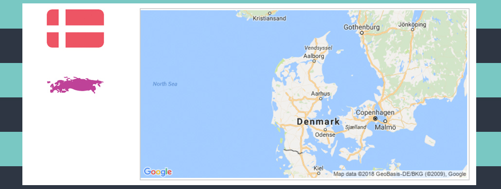 Map and flag of Denmark.