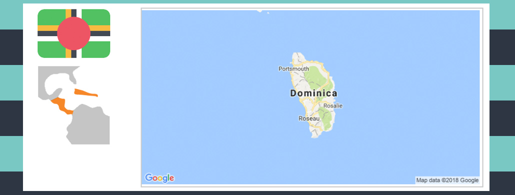 Map and flag of Dominica.