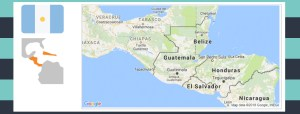Map and flag of Guatemala.