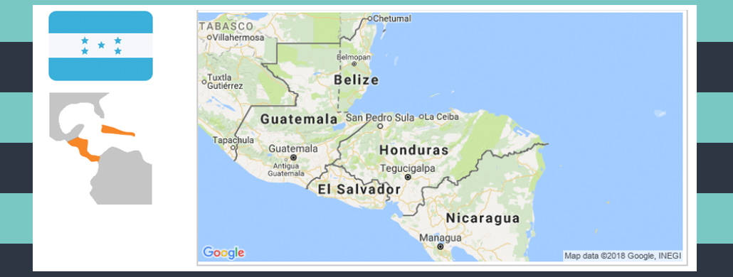 Map and flag of Honduras.
