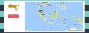 Map and flag of Indonesia.