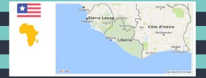 Map and flag of Liberia.