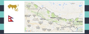 Map and flag of Nepal.