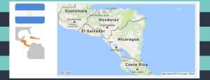Map and flag of Nicaragua.