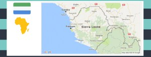 Map and flag of Sierra Leone.