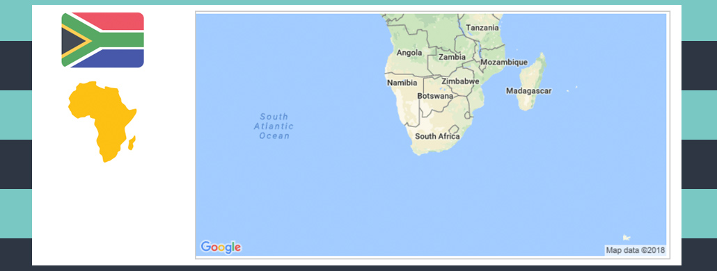Map and flag of South Africa.