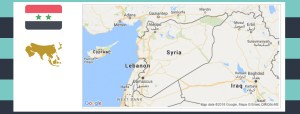 Map and flag of Syria.