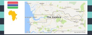 Map and flag of The Gambia.