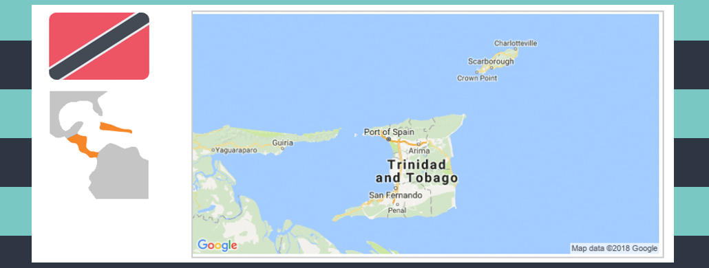 Map and flag of Trinidad and Tobago.