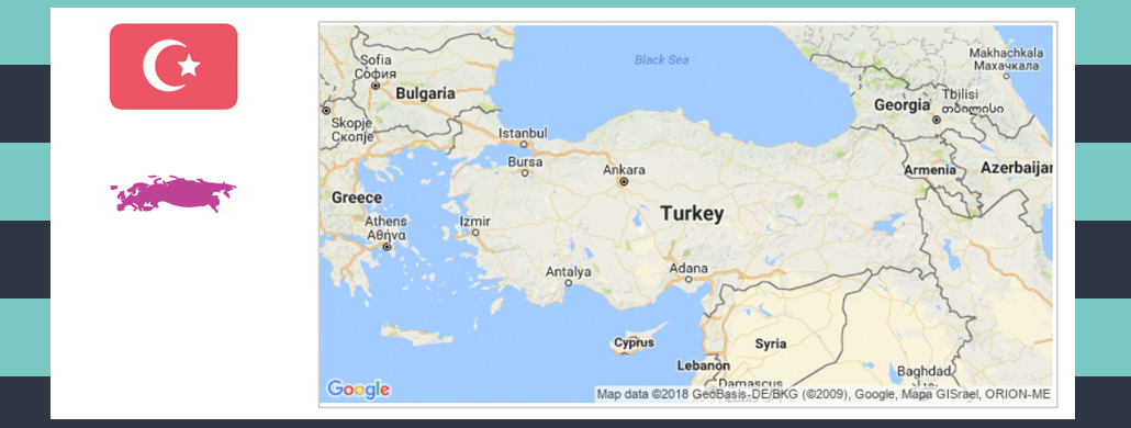 Map and flag of Turkey.