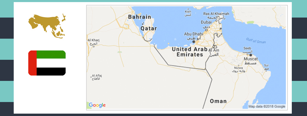 Map and flag of United Arab Emirates.
