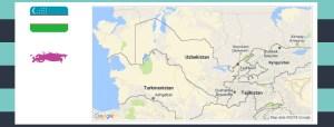 Map and flag of Uzbekistan..