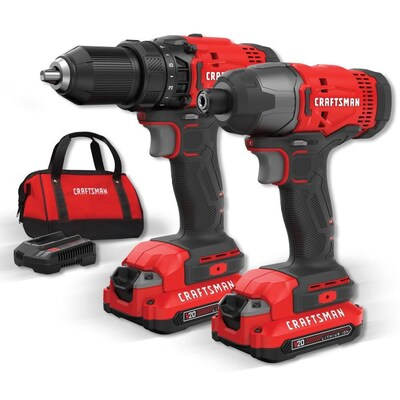 CRAFTSMAN V20 20-Volt Max 2-Tool Power Tool Combo Kit with Soft Case (2-Batteries Included and Charger Included)