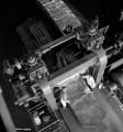View of finishing aluminum rolls in the sheet mill from a crane overhead at the Aluminum Company of Canada plant. / À l'usine Alcan Aluminium Limitée, vue de la finition des rouleaux d'aluminium dans le laminoir prise d'un pont roulant