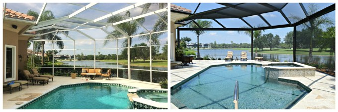 Megaview® pool enclosure remodel built by Megaview Extrusions Inc showing tradtional-style enclosure with post every 5' vs. megaviews wide post span over 10'
